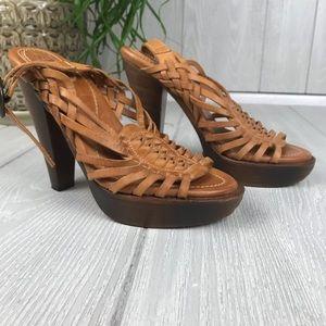 Frye Joy Huarache leather platform sling sandals